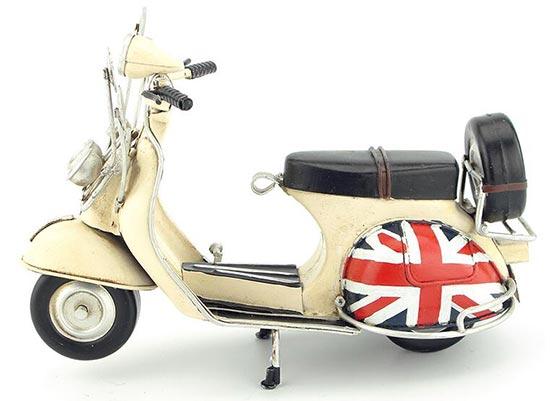Medium Size White Tinplate Vintage Vespa Scooter Motorcycle