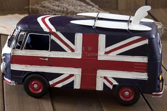 Medium Size Tinplate National Flag Pattern VW T1 Bus Model [TM01A055] : TINDECOMODELS.COM