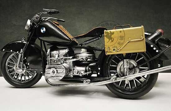 Black Large Scale Tinplate BMW R71 Three-Wheeled Motorcycle
