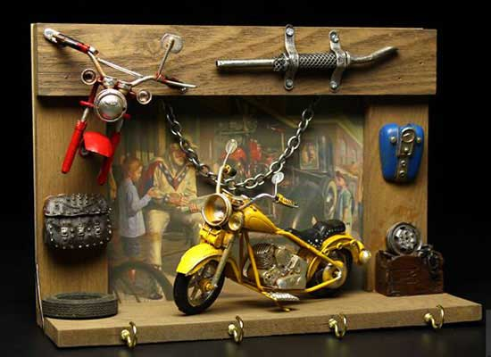 Small scale yellow harley davidson motorcycle model for Decoration maison harley davidson